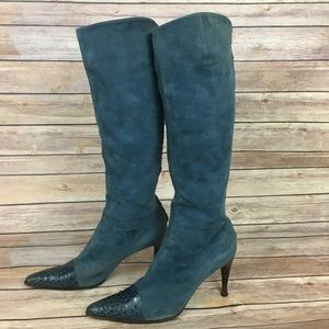 Sergio Rossi Blue Suede Boots